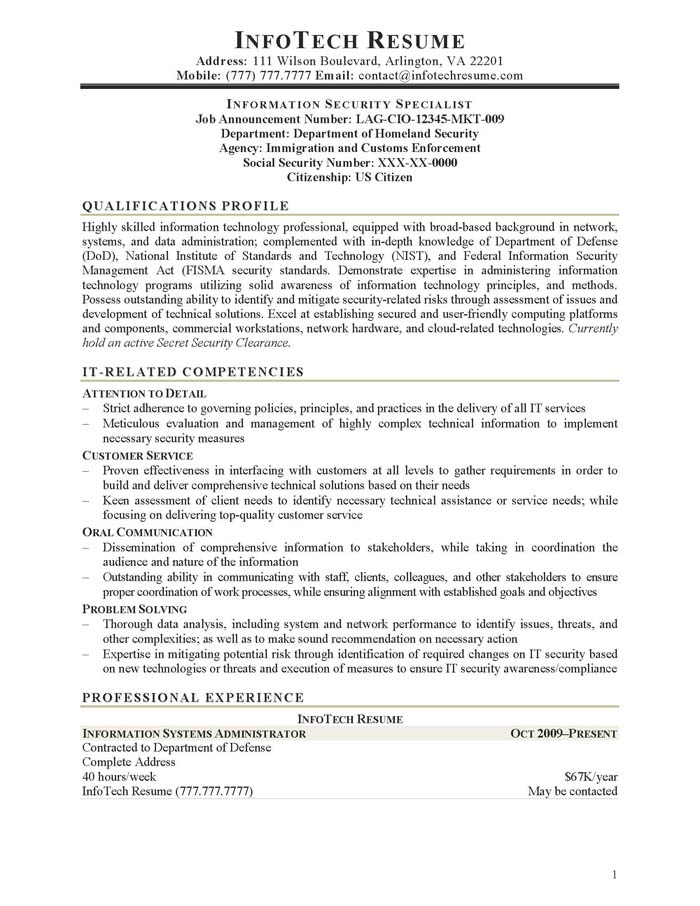 director of information technology information security specialist for federal - Information Security Resume