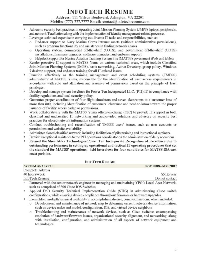 It Resume Samples - Infotechresume