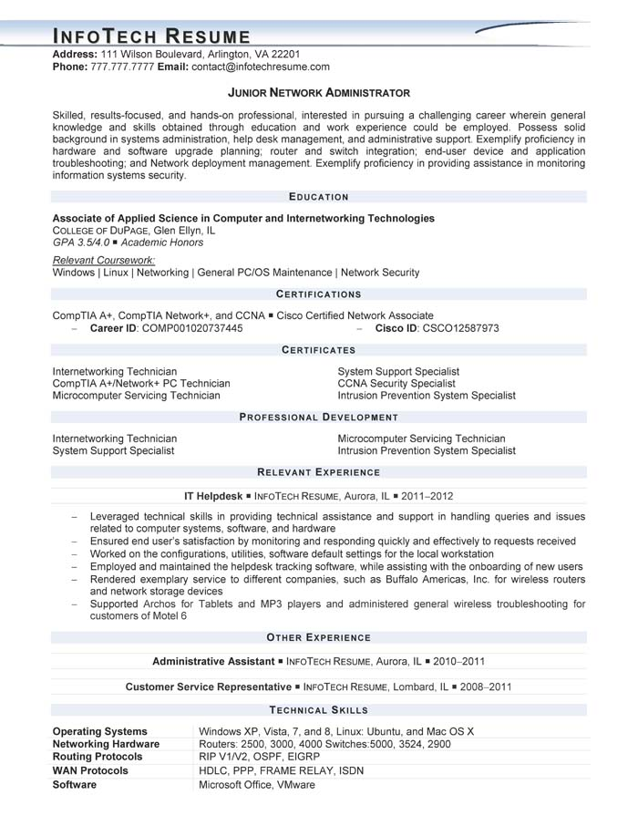 it project manager junior network administrator sample resume for it project manager junior network administrator sample resume