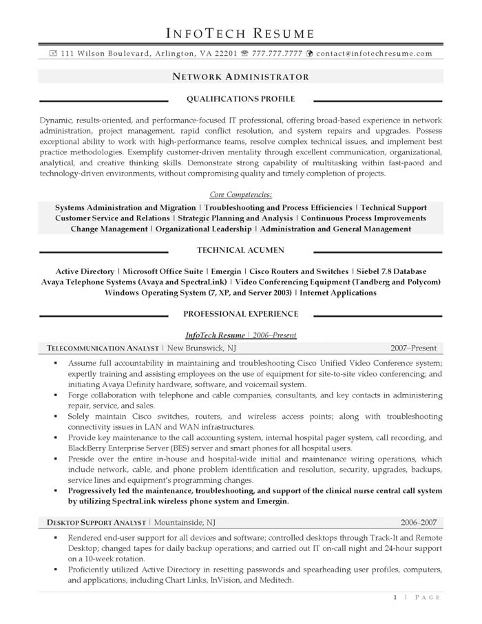 network administrator resume free sample