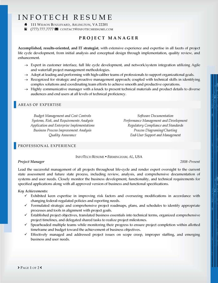 IT Resume Samples InfotechResume – Mainframe Project Manager