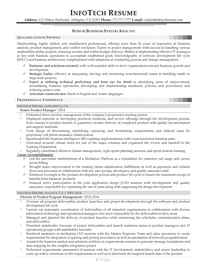 Resume Examples Business Systems Analyst  Template
